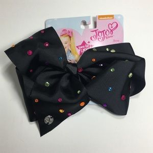 JoJo Siwa Hair Bow Black Multicolor Rhinestones